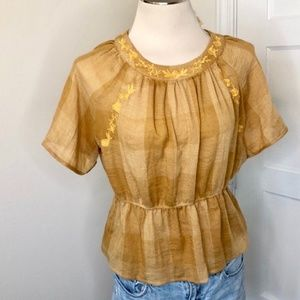 Boho Embroidered Checkered Mustard Yellow top